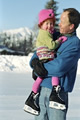 Dad holding child ice-skater